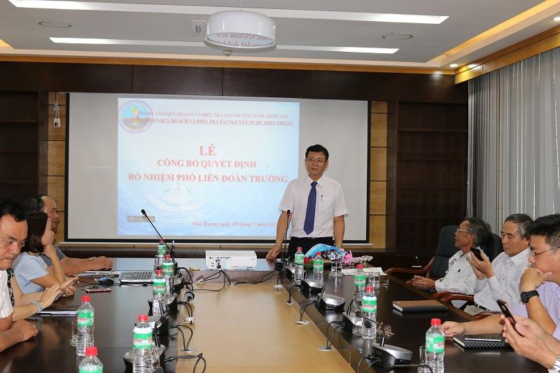 Th.S Nguyễn Quang Huy được bổ nhiệm chức vụ Phó Liên đoàn trưởng Liên đoàn Quy hoạch và Điều tra tài nguyên nước miền Trung